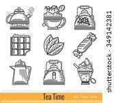 set of outline web icon. tea...