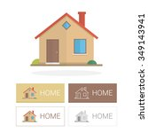 small house in flat style and... | Shutterstock .eps vector #349143941