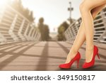 sun  and woman legs and red... | Shutterstock . vector #349150817