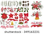 merry christmas and happy new... | Shutterstock .eps vector #349163231