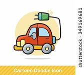 electric car doodle | Shutterstock .eps vector #349169681
