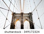 Brooklyn Bridge With Usa Flag