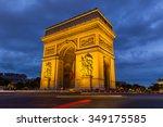 paris arc de triomphe at night  ...   Shutterstock . vector #349175585