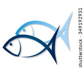 Two Blue Fish For Vector