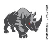 angry rhino on the white... | Shutterstock .eps vector #349194005