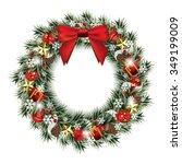 christmas wreath isolated on... | Shutterstock .eps vector #349199009