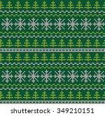 knitting christmas pattern | Shutterstock .eps vector #349210151