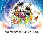 colrful exotic disco dance... | Shutterstock . vector #34921153