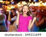 Stock photo people holidays celebration and glamour concept happy young woman or teen girl in pink dress 349211699