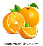 fresh ripe oranges with leaves. ... | Shutterstock .eps vector #349211894