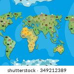 world map with  animals and... | Shutterstock . vector #349212389