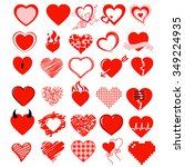 big vector set heart and love | Shutterstock .eps vector #349224935