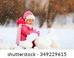 cute happy little girl play in... | Shutterstock . vector #349229615