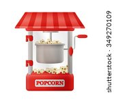 red classic popcorn machine | Shutterstock .eps vector #349270109