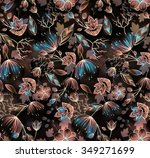 watercolor floral pattern | Shutterstock . vector #349271699