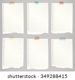 set of torn notebook papers... | Shutterstock .eps vector #349288415