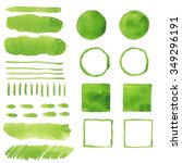 set of green watercolor stains...   Shutterstock .eps vector #349296191