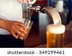 draft beer pour in a glass from ... | Shutterstock . vector #349299461