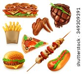 fast food set vector icons | Shutterstock .eps vector #349309391