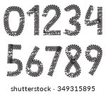 digits made from motorcycle...   Shutterstock . vector #349315895