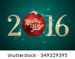 red christmas ball with... | Shutterstock .eps vector #349329395