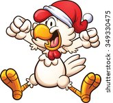 happy chicken with a christmas... | Shutterstock .eps vector #349330475