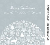 christmas greeting card.... | Shutterstock . vector #349336829