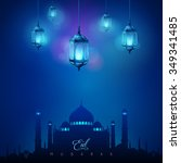 arabic lamp and mosque islamic... | Shutterstock .eps vector #349341485