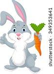 cute cartoon rabbit holding a... | Shutterstock .eps vector #349353641