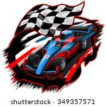 speeding f1 racing car with... | Shutterstock .eps vector #349357571