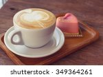 close up cup of coffee  latte... | Shutterstock . vector #349364261