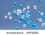 blue and white balloons in the... | Shutterstock . vector #3493685