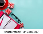 new year note and blank... | Shutterstock . vector #349381607
