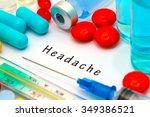 headache   diagnosis written on ... | Shutterstock . vector #349386521