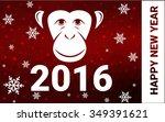 red monkey silhouette postcard...   Shutterstock .eps vector #349391621