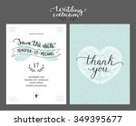 save the date card  wedding... | Shutterstock .eps vector #349395677