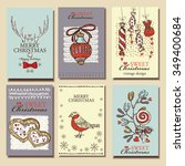 vector set. christmas cards .... | Shutterstock .eps vector #349400684