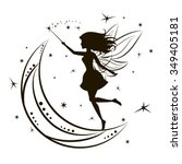 silhouette of fairy with moon... | Shutterstock .eps vector #349405181