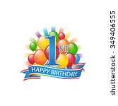 1st colorful happy birthday... | Shutterstock .eps vector #349406555