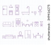 flat line icons for furniture... | Shutterstock .eps vector #349416275