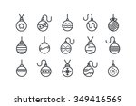 set of christmas balls icon.... | Shutterstock .eps vector #349416569