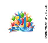 31st colorful happy birthday... | Shutterstock .eps vector #349417631