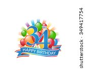 34th colorful happy birthday...   Shutterstock .eps vector #349417754