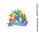 30th colorful happy birthday...   Shutterstock .eps vector #349417811