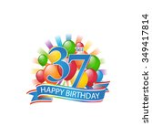 37th colorful happy birthday...   Shutterstock .eps vector #349417814
