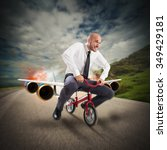 businessman with bicycle with... | Shutterstock . vector #349429181