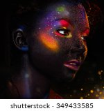 Постер, плакат: Glowing neon makeup with