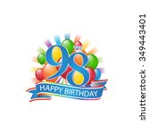 98th colorful happy birthday...   Shutterstock .eps vector #349443401