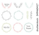 circle floral borders  wreaths  ... | Shutterstock .eps vector #349460417