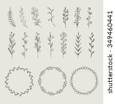circle floral borders  wreaths  ... | Shutterstock .eps vector #349460441